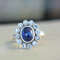 Blue & White Sapphire Engagement Ring September Birthstone Ring Sterling Silver Sapphire Vintage Inspired Milgrain Ring Size 8-9