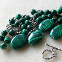 Malachite Hedge Mazes Green Malachite Silver Pewter Bracelet Beads Kit Jewelry Kit DIY Grade A