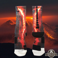 Fast Shipping!! Nike Elite Socks Customized Red Galaxy Lightning Spaceman