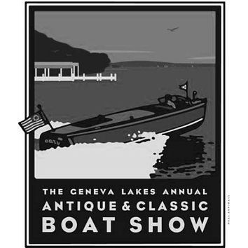 Geneva Boat Show poster Metal Sign Wall Art 8in x 12in Black and White