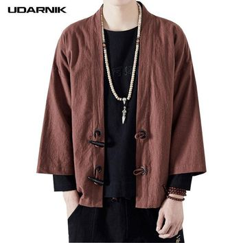 Trendy Men Coat Japanese Style Yukata Kimono 3/4 Sleeve Open Stitch Outwear Vintage Loose Cardigan Tang Suit Jacket Summer 223-139 AT_94_13