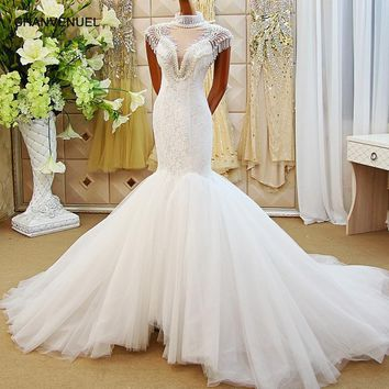 LS61278 hand working beaded mermaid wedding dress cap sleeve tulle zipper back bridal wedding dressing gowns 2018 new arrivel