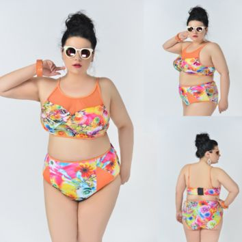 Plus size high neck high waist bikini Two-piece swimsuit Sexy Women swimwear Bath Swimwear -0419