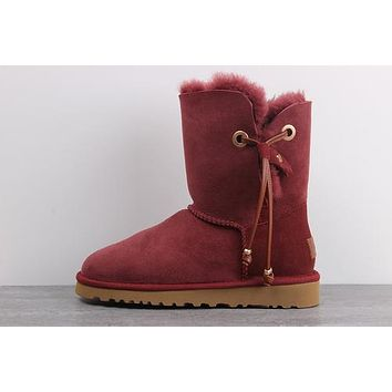 Sale Ugg 1017496 Red Wine Classic Maia Sheepskin Boot Snow Boots