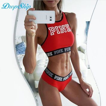Dropship Spring Casual Crop Top Sexy Pink Letter Tank Top Black Camisole Tube Top 2018 Off Shoulder Halter Sexy Fitness Tops