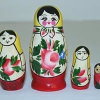 Handmade Russian traditional matryoshka, 4 pcs.