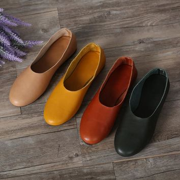 (35-42)Woman Shoes Flat Genuine Leather Slip on Ballet Flats Anti-slip Ladies Flat Sho