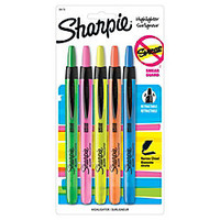 Sharpie Accent Retractable Highlighters Assorted Colors Pack Of 5 by Office Depot