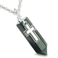 Amulet Crystal Point Wand Holy Cross Charm Black Agate Pendant 18 Inch Necklace
