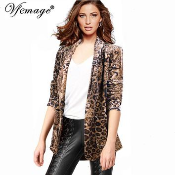 Vfemage Velvet Leopard Autumn Fall Winter long sleeve Womens Ladies Cool Chic Streetwear Casual Party Top Blazer 4416
