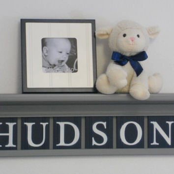 "NAVY and GRAY Nursery Wall Decor / Room Decor - Personalized for Baby HUDSON on 24"" Grey Shelf with 6 Navy Blue Wall Letters"