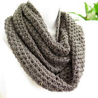 Grey sequined cowl, hand crochet infinity scarf, dark grey loop scarf
