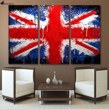3 Piece UK flag painting with frames
