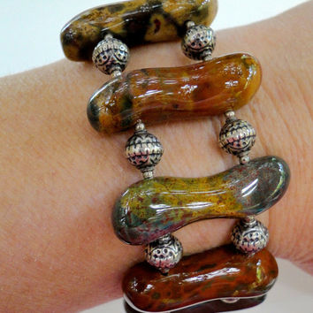 HUGE Sale Polished Jasper Bracelet Sterling Beads Natural Stone Back to Nature Bracelet