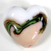 Heart Bead Pink and White Handmade Lampwork Focal Bead Green Stripes