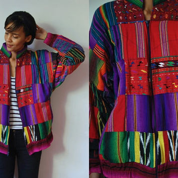 Vtg Guatemalan Tribal Print Colorful Cotton Zip Up Bomber Jacket