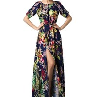 MapleClan Unique Vintage Floral Off Shoulder High Side Slit Long Dress