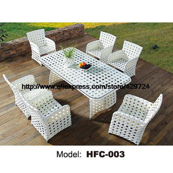 Promotion 6 PCS desk Table chairs balcony outdoor furniture combination rattan chairs Garden Coffee table leisure chairs Set