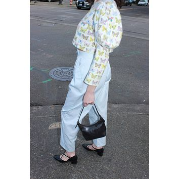 80s Sky Blue High Rise Trousers / Small