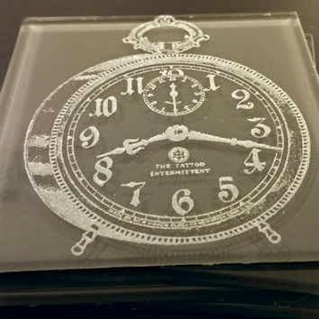 Vintage Clock Glass Coasters - personalized, corporate gifts, wedding favors