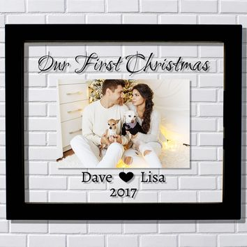 Our First Christmas Picture Frame - Personalized Custom Names Year Boyfriend Girlfriend Newlyweds