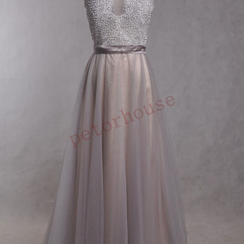 Silver Lace applique Beaded Long Prom Dresses ,Fashion Evening Dresses, Hot Party Dresses,Wedding Party Dresses ,Evening Gowns,Evening Gowns