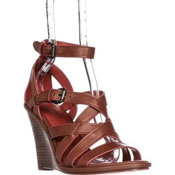 COACH Dawn Strappy Wedge Sandals, Saddle, 9 US