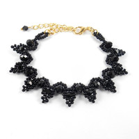 Black Crystal Bracelet Seed Bead and Glass Crystal Jewelry Gothic Jewelry