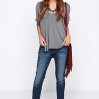 Flying Monkey His Place Cropped Dark Wash Boyfriend Jeans