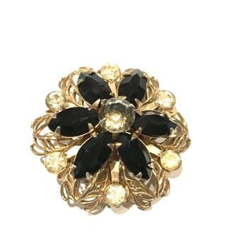 Floral Vintage Jewelry Black Silver Filigree Pin