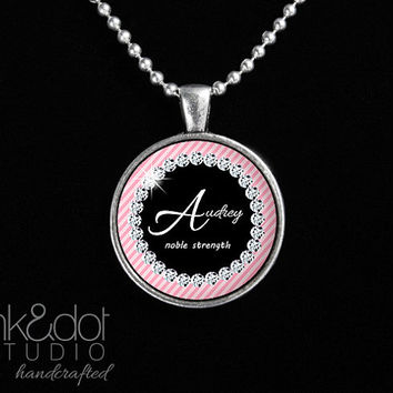Personalized Name and Meaning Necklace - Pink Stripes and Diamonds Custom Glass Pendant Necklace