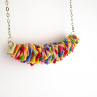 Rainbow felt necklace, fiesta colorful chunky necklace, bib necklace, boho jewelry