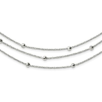 925 Sterling Silver Polished 3 Strand Beaded with 2in. Extension Necklace 34 Inch