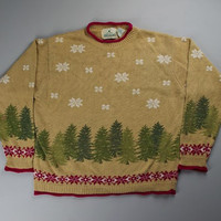 Pine Trees and snowflakes on an Ugly Christmas Sweater | ugly sweater