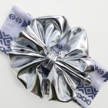 Silver Floppy Bow Headband  -Baby Bow Headband -Big  Messy Bow Headband -  Baby Bow White Headband - Little Girl Bows