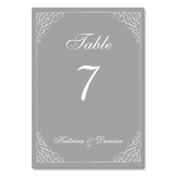 Swirl Gray White Personalized Table Card