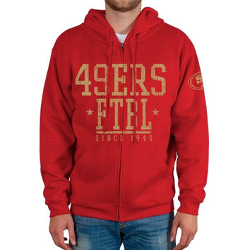 San Francisco 49ers Front And Sleeve Full Zip Jacket - Scarlet