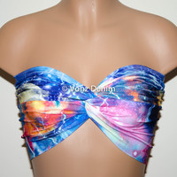 Galaxy Printed Twisted Bandeau, Galaxy Universe Swimwear Bikini Top, Spandex Bandeau Bikini in Blue, Fuchsia, Orange, Yellow & White