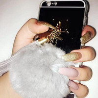 Fur Ball Chain Mirror Protective Case Mirror Cover For iPhone 7,7plus, 6, 6s, 6 Plus, 6s Plus (Silver)