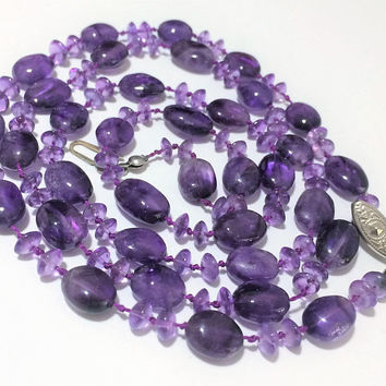 Artisan Dark Purple Amethyst Necklace 32 Inches Hand Knotted Oval Disk Beads Boho Festival Style 518