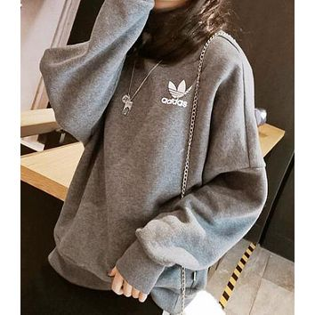 ADIDAS Popular Women Casual Clover Print Long Sleeve High Collar Sweater Top Sweatshirt Grey