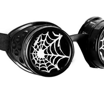 Black Goggles with White Spiderwebs Cobwebs Goth Cyber Cosplay