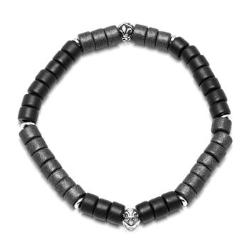 Men's Wristband with Black and Grey Tulum Beads