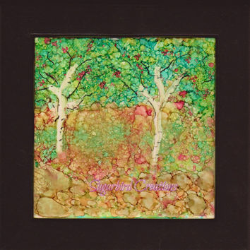 Apple Orchard Alcohol Ink on Ceramic Tile w/ Black Frame