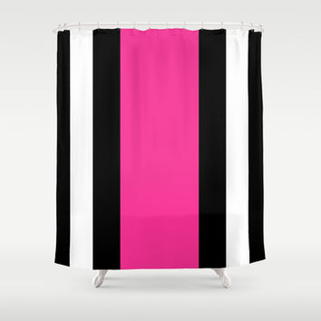 Black  White and Pink Vertical Stripes Shower Curtain by Kat MunShop Black Striped Shower Curtain on Wanelo. Pink And White Striped Shower Curtain. Home Design Ideas
