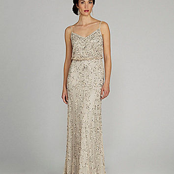 Adrianna Papell Spaghetti-Strap Beaded Blouson Gown | Dillards.com