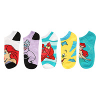 Disney The Little Mermaid Characters No-Show Socks 5 Pair