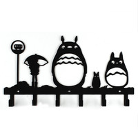 Cute Cartoon Totoro Wall Hook Rail Rack Coat Clothes Hanger Organizer