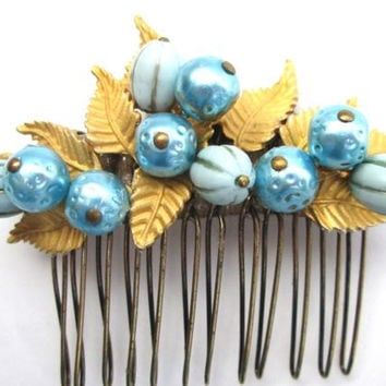 Blue Wedding Bridal Hair Comb Handmade Hair Piece Gold Leaves Jewelled Hairpin Accessories Clip Tiara Facinator Vintage Jewelry OOAK