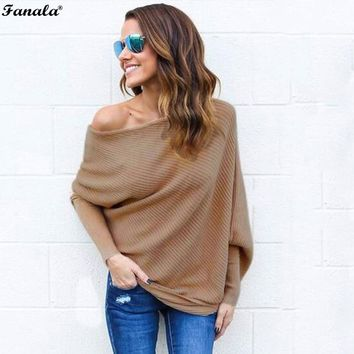 Autumn Sweater Women Tops 2017 Poncho Knitted Sweaters Slash Neck Batwing Sleeve Ruched Solid Loose Women's Sweater Plus Size